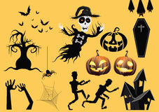 Halloween elements. Set of Halloween haunted objects Royalty Free Stock Photos