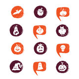 Halloween elements set. Vector Halloween design elements . Halloween icons with hand drawn pumpkins, ghosts, skull, moon, scary hat. Perfect for party invitation Vector Illustration