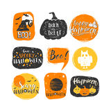 Halloween elements set. Vector Halloween design elements. Halloween stickers with hand drawn symbols and lettering. Vector collection with pumpkins, ghosts, owl Royalty Free Illustration