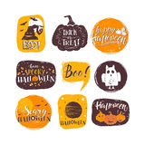 Halloween elements set. Vector Halloween design elements. Halloween stickers with hand drawn symbols and lettering. Vector collection with pumpkins, ghosts, owl Stock Illustration