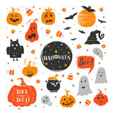Halloween elements set. Vector set of Halloween design elements . Halloween stickers with traditional symbols and handwritten lettering. Perfect for party Stock Illustration