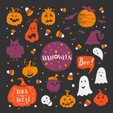Halloween elements set. Vector set of Halloween design elements . Halloween stickers with traditional symbols and handwritten lettering. Perfect for party Vector Illustration