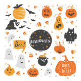 Halloween elements set. Vector set of Halloween design elements . Halloween stickers  with traditional symbols and handwritten lettering. Perfect for party Royalty Free Stock Images