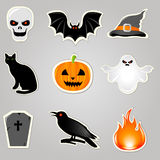 Halloween Elements. Vector. Halloween Symbols And Elements, Stickers Set, Vector Illustration Stock Image