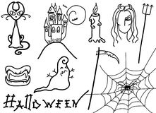 Halloween elements on white Royalty Free Stock Photo