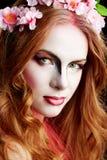 Halloween Elf woman. Isolated on black stock images