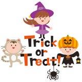 Halloween-embleemontwerp en leuke beeldverhaalkinderen royalty-vrije illustratie