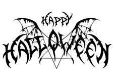 Halloween-Emblem in der Metallrockmusikart Stockfotos