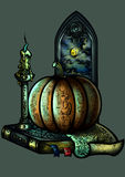 Halloween emblem with a pumpkin a candle a book and a window Stock Photography