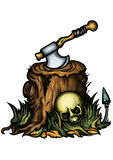 Halloween emblem with a stump an axe and a skull Stock Photo