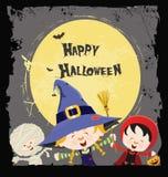 Tarjeta de los niños de Halloween Fotografía de archivo