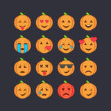 Halloween emoticon face icons set. Stock Images