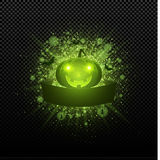 Halloween. Empty ribbon banner. Abstract bright flash of light with green lights. Green cartoon evil pumpkin, spiders and bats. In Royalty Free Stock Photos