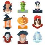 Halloween en Dag van de Dode avatar pictogrammen in vlakke stijl vector illustratie
