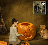 Halloween en een meisje Stock Afbeeldingen