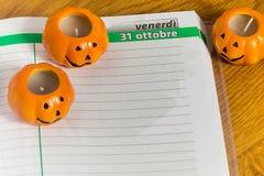 Halloween en el calendario Imagen de archivo libre de regalías