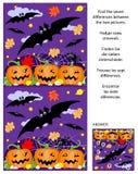 Halloween encuentra el rompecabezas con los palos del vuelo, campo de la calabaza, araña de la imagen de las diferencias ilustración del vector