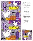 Halloween encuentra el rompecabezas de la imagen de las diferencias con dos pequeños fantasmas Imagen de archivo libre de regalías