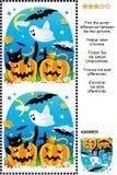 Halloween encuentra el rompecabezas de la representación visual de 7 diferencias libre illustration