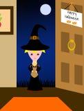 Halloween - enfant heureux avec des festins illustration stock