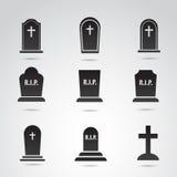 Halloween, ensemble grave d'icône de vecteur Image stock
