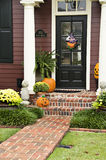 Halloween Entry. A home's entryway decorated for the fall and halloween season Stock Image