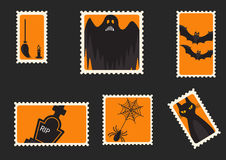 Halloween-envelopzegels Stock Foto