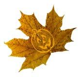 Halloween, esdoornbladeren valt met een pompoenpictogram op een geïsoleerde achtergrond royalty-vrije stock fotografie