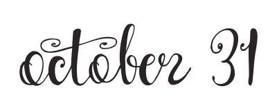 Halloween-etiket met Hand getrokken citaat ` 31 Oktober ` Stock Foto's