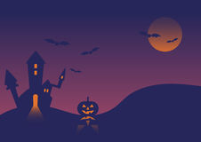 Halloween event castle pumpkin background  illustration Royalty Free Stock Photography