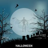 Halloween evil angel and moon background. Halloween Background with Big Moon Graveyard Evil Angel Shadow and Decorative Text Stock Image