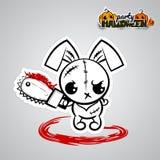 Halloween evil bunny voodoo doll pop art comic Stock Images