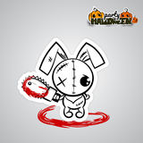 Halloween evil bunny voodoo doll pop art comic. Pop art wow comic book text party. Ugly angry monochrome thread needle sewing voodoo doll. Vector illustration Royalty Free Stock Photo
