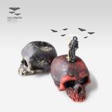 Halloween evil miniature figure death idea concept. stock image