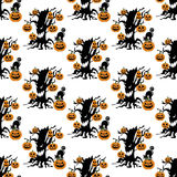 Halloween evil tree pattern. On the white background. Vector illustration Royalty Free Stock Images