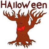 Halloween evil twisted tree. Halloween angry evil twisted tree with branches as a hands, cartoon vector design elements in red and brown colors Stock Photos