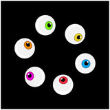 Halloween eyeball vector symbol set. Colorful cartoon clipart pupil Royalty Free Stock Photography