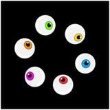 Halloween eyeball vector symbol set. Colorful cartoon clipart pupil Royalty Free Stock Photography