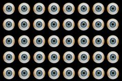 Halloween Eyeballs. Group of halloween eyeballs on black background Royalty Free Stock Photo