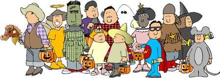 halloween för 3 grupp ungar stock illustrationer