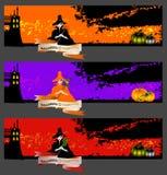 halloween för bakgrundsbanerkort set Royaltyfria Bilder