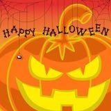 Halloween för vektordesignbeståndsdel pumpa på orange lutningbakgrund Arkivbild