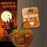 Halloween försäljning Allhelgonaaftonkort med stålarnolla-lyktan royaltyfri illustrationer