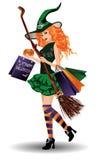 Halloween försäljning Sexig redhairhäxa med shoppingpåsar Royaltyfria Foton