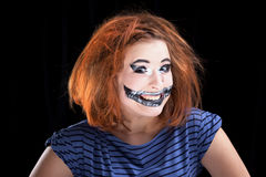 Halloween face art on black background Royalty Free Stock Image