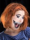 Halloween face art on black background Royalty Free Stock Photo