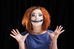 Halloween face art on black background Royalty Free Stock Photos