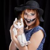 Halloween face art on black background Stock Image