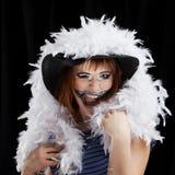 Halloween face art on black background Stock Photo