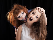 Halloween face art on black background Royalty Free Stock Photography